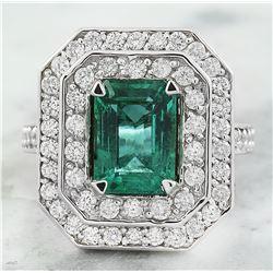 3.21 CTW Emerald 18K White Gold Diamond Ring