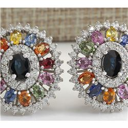 8.55 CTW Natural Sapphire And Diamond Earrings 18K Solid White Gold