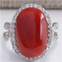 11.44 CTW Natural Red Coral And Diamond Ring In 18K White Gold