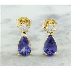 2.25 CTW Tanzanite 14K Yellow Gold Diamond Earrings
