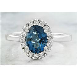 1.60 CTW Topaz 14K White Gold Diamond Ring