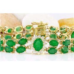 20.70 CTW Natural Emerald 14K Solid Yellow Gold Diamond Bracelet