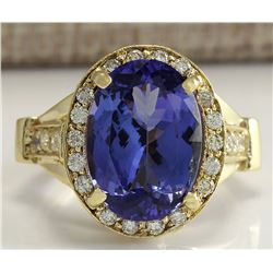 8.94 CTW Natural Blue Tanzanite And Diamond Ring 18K Solid Yellow Gold