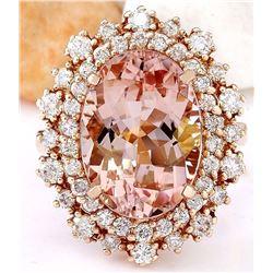 8.15 CTW Natural Morganite 18K Solid Rose Gold Diamond Ring