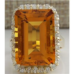 16.61 CTW Natural Citrine And Diamond Ring 14K Solid Yellow Gold