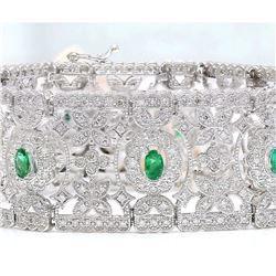 8.25 CTW Natural Emerald 18K Solid White Gold Diamond Bracelet