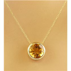 1.50 CTW Citrine 18K Yellow Gold Necklace