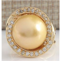 0.60 CTW Natural 13.70mm Gold South Sea Pearl Diamond Ring 18K Yellow Gold