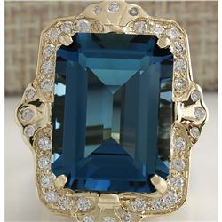 19.53 CTW Natural London Blue Topaz And Diamond Ring 14K Solid Yello Gold