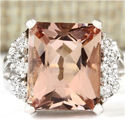 7.292 CTW Natural Morganite And Diamond Ring 18K Solid White Gold