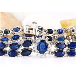22.00 CTW Natural Sapphire 18K Solid White Gold Diamond Bracelet