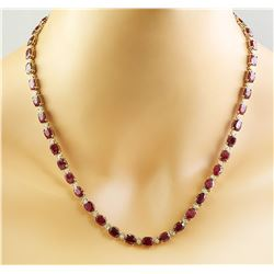 42.80 CTW Ruby 18K Yellow Gold Diamond Necklace