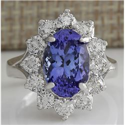 4.55 CTW Natural Blue Tanzanite And Diamond Ring 18K Solid White Gold