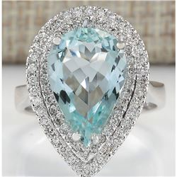 4.74 CTW Natural Aquamarine And Diamond Ring In 14K White Gold