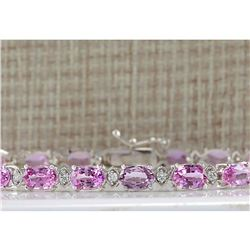 14.10CTW Natural Pink Sapphire And Diamond Bracelet In 18K Solid White Gold