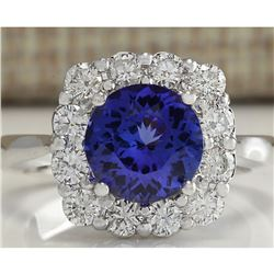 3.60 CTW Natural Blue Tanzanite And Diamond Ring 18K Solid White Gold