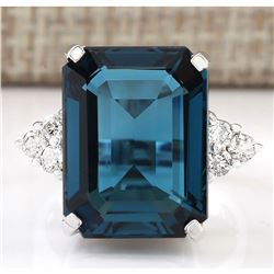 13.04 CTW Natural London Blue Topaz And Diamond Ring In14k Solid White Gold
