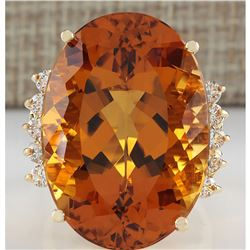 32.41 CTW Natural Citrine And Diamond Ring In 14K Solid Yellow Gold