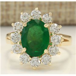 3.34 CTW Natural Emerald And Diamond Ring In 14k Yellow Gold