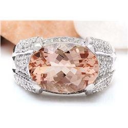 6.95 CTW Natural Morganite 18K Solid White Gold Diamond Ring