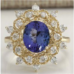 4.00 CTW Natural Blue Tanzanite And Diamond Ring In 18K Yellow Gold