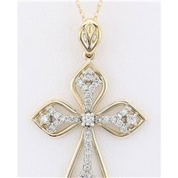 0.70 CTW Natural Diamond Pendant In 14k Solid Yellow Gold