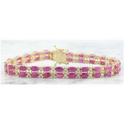 15.88 CTW Ruby 18K Yellow Gold Diamond Bracelet