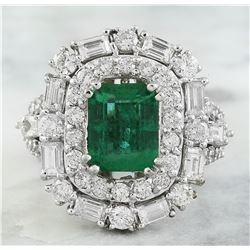 5.12 CTW Emerald 14K White Gold Diamond Ring