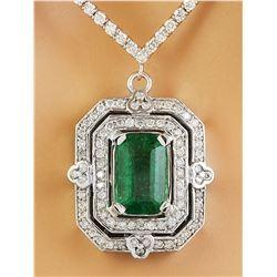 8.84 CTW Emerald 18K White Gold Diamond Necklace