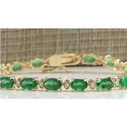 8.86 CTW Natural Colombian Emerald And Diamond Bracelet In 14K Yellow Gold