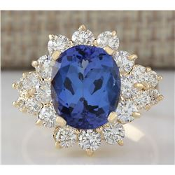 6.75 CTW Natural Tanzanite And Diamond Ring In 18K Yellow Gold
