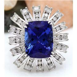 13.51 CTW Natural Tanzanite 18K Solid White Gold Diamond Ring