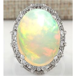 12.36 CTW Natural Opal And Diamond Ring In 18K White Gold