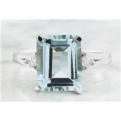 2.26 CTW Aquamarine 14K White Gold Diamond Ring
