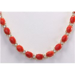 42.82 CTW Natural Red Coral And Diamond Necklace In 18K Yellow Gold