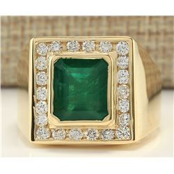 MENS 5.00 CTW Natural Mens Emerald And Diamond Ring In 14K Yellow Gold