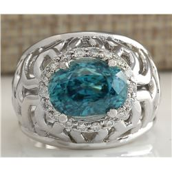 7.45 CTW Natural Blue Zircon And Diamond Ring 18K Solid White Gold