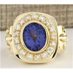 5.52 CTW Natural Mens Blue Tanzanite And Diamond Ring 18K Yellow Gold