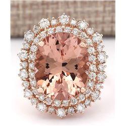 11.24 CTW Natural Morganite And Diamond Ring In 18K Rose Gold
