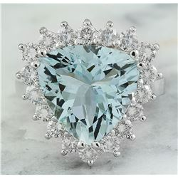 7.12 CTW Aquamarine 18K White Gold Diamond Ring