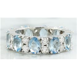 4.45 CTW Aquamarine 18K White Gold Diamond Ring