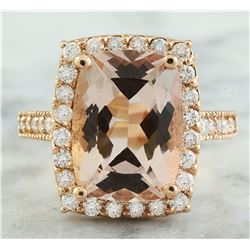 7.12 CTW Morganite 14K Rose Gold Diamond Ring