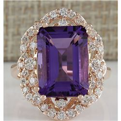 7.78 CTW Natural Amethyst And Diamond Ring In 18K Rose Gold