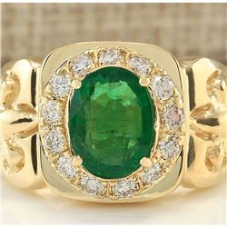 3.02 CTW Natural Emerald And Diamond Ring In 18K Yellow Gold