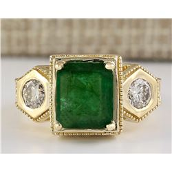 4.68 CTW Natural Emerald And Diamond Ring In 14k Yellow Gold