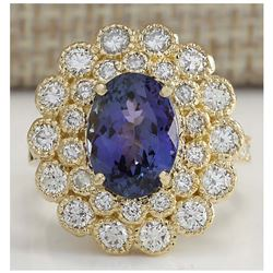 5.32 CTW Natural Blue Tanzanite And Diamond Ring In 14K Solid Yellow Gold