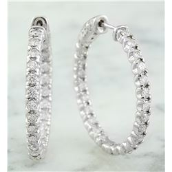 1.40 CTW 18K White Gold Diamond Hoop Earrings