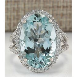 9.54 CTW Natural Blue Aquamarine Diamond Ring 18K Solid White Gold