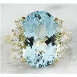 8.15 CTW Aquamarine 18K Yelow Gold Diamond Ring