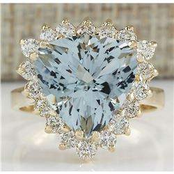 5.84 CTW Natural Aquamarine And Diamond Ring 14K Solid Yellow Gold